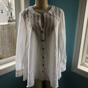 Free People Embroidered Lace Button Top
